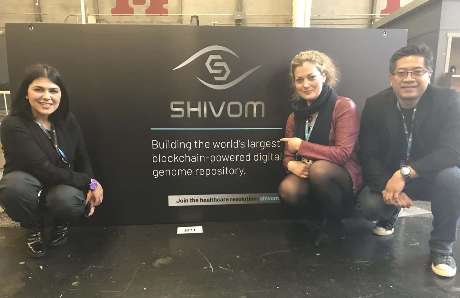 Azam Shaghaghi, Henry Ines and Natalie Pankova from the Shivom team, attending Token Fest. Source: twitter.com/ProjectShivom