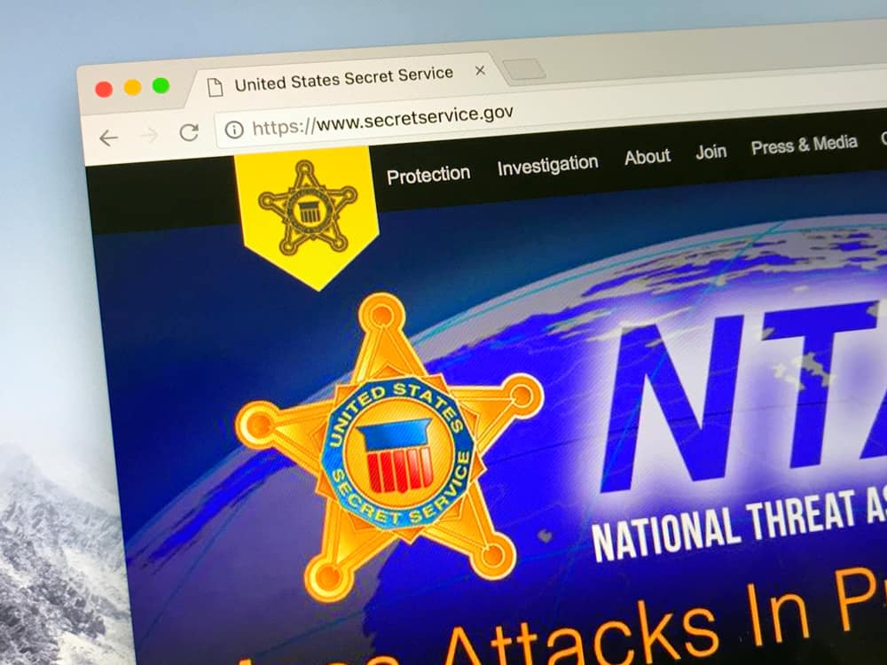 Amsterdam, Netherlands - June 14, 2018 Official American government law enforcement agency website United States Secret Service (also USSS or Secret Service). Source: shutterstock.com