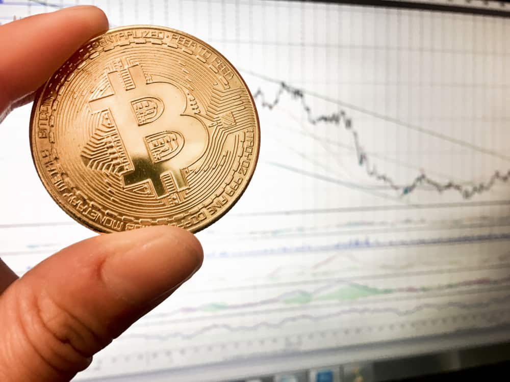Bitcoin gold coin and defocused chart background. Virtual cryptocurrency concept. Source: shutterstock.com