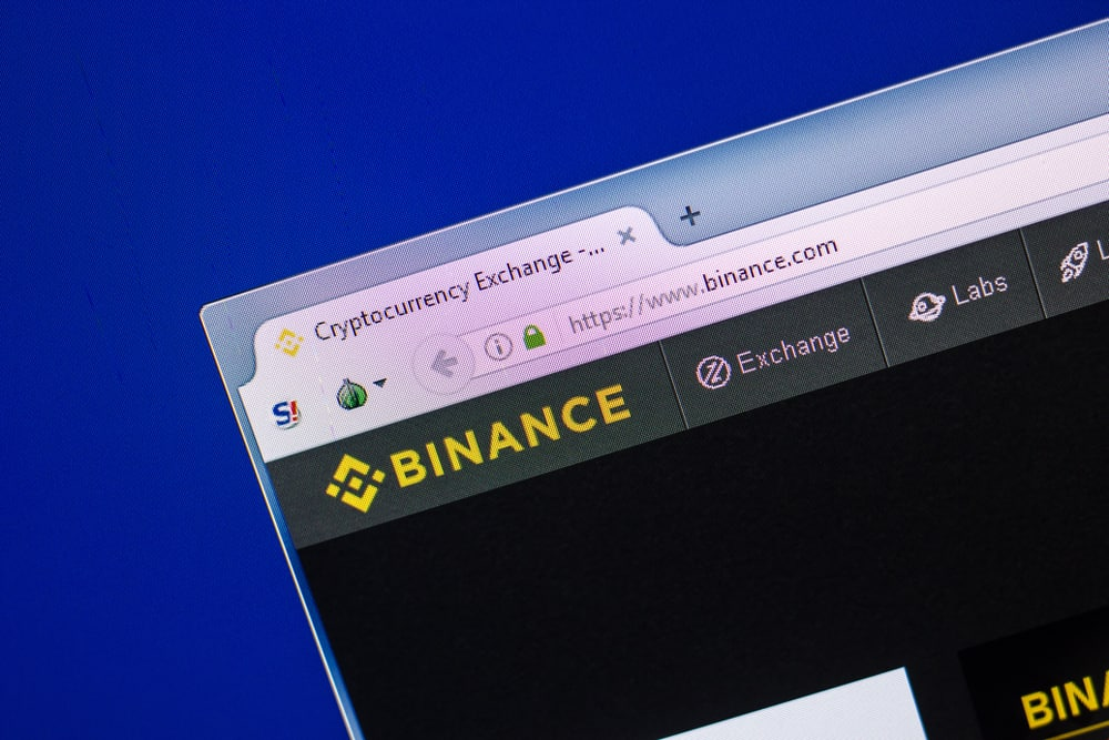 Homepage of Binance website on the display of PC. Source: Shutterstock.com