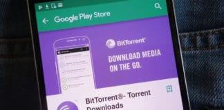 KONSKIE, POLAND - JUNE 02, 2018 BitTorrent app on Google Play Store website displayed on smartphone hidden in jeans pocket. Source: shutterstock.com
