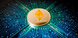 Ethereum coin on a background of blue circuit board pattern. Source: shutterstock.com