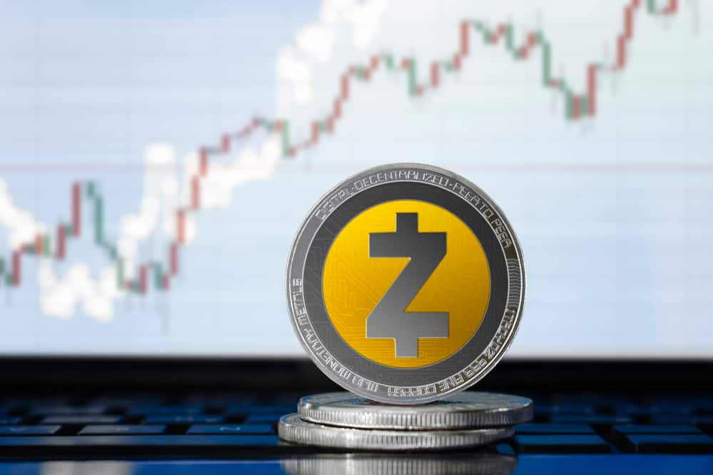 Physical concept Zcash coin on the background of the chart. Source: Shutterstock.com