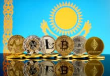 Physical version of Cryptocurrencies (Monero, Ripple, Litecoin, Bitcoin, Dash, Ethereum) and Kazakhstan Flag. Source: Shutterstock.com