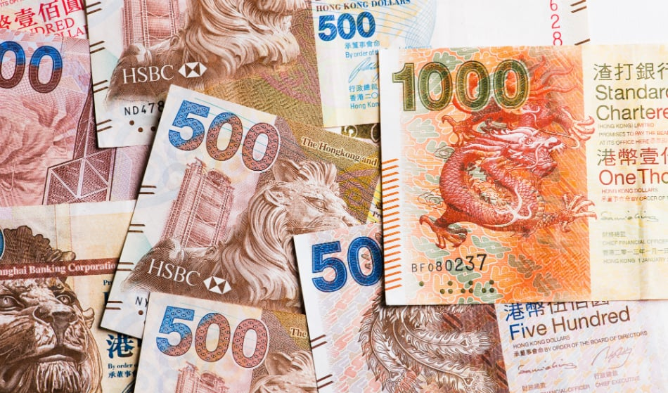 Pile of many Hong Kong Dollar banknotes. Source: Shutterstock.com