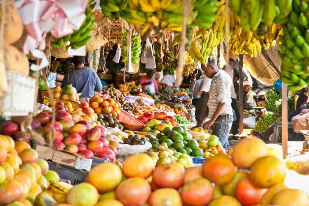 Ripe fruits stacked at a local fruit and vegetable market in Nairobi, Kenya. Source: Shutterstock.com