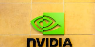 Santa Clara, California, USA - March 29, 2018 Sign of Nvidia at Nvidia's headquarters in Silicon Valley. Nvidia Corporation is an American technology company. Source: shutterstock.com
