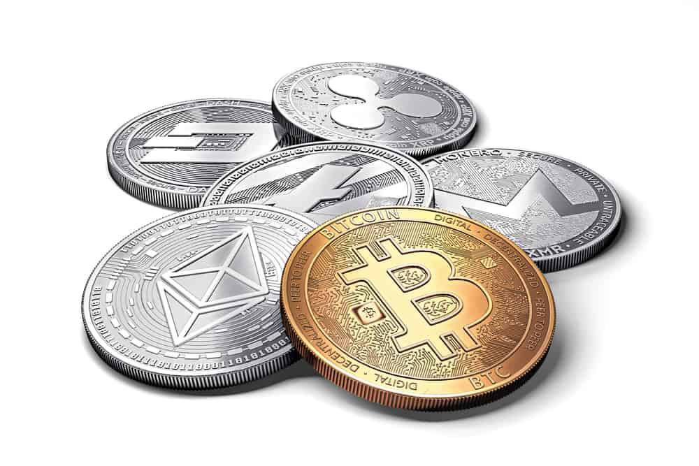 Stack of cryptocurrencies together. Source: Shutterstock.com