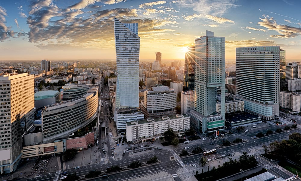 Warsaw City with modern skyscraper at sunset. Source: Shutterstock.com