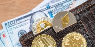 crytocurrency bitcoin , litecoin, ripple and ethereum on wallet pocket. Source: shutterstock.com
