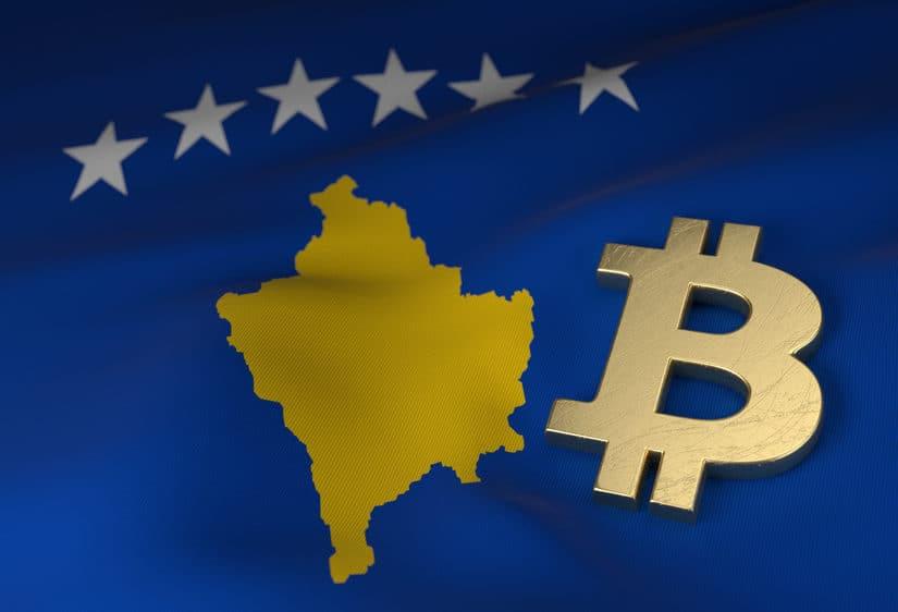Gold Bitcoin symbol on Kosovo flag. Source: shutterstock.com