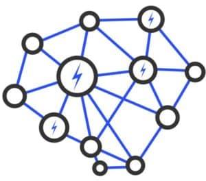 Lightning Network flat raster illustration. Source: shutterstock.com