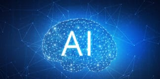 Blockchain technology network futuristic hud polygon human brain on peer to peer blockchain network technology background represent ai artificial intelligence and cyber space concept. Source: shutterstock.com