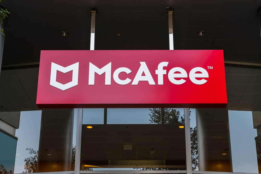 Signage with logo at the Silicon Valley headquarters of virus removal and cybersecurity company McAfee, Santa Clara, California. Source: shutterstock.com