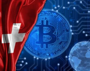 Switzerland flag against Bitcoin background. Source: shutterstock.com
