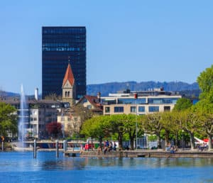 View of the city from Lake Zug. The city of Zug is the capital of the Swiss Canton of Zug. Source: shutterstock.com