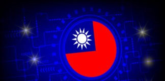 Flag of Taiwan against digital technology background. Source: shutterstock.com