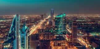 Saudi Arabia Riyadh landscape at night. Source: Shutterstock.com