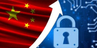 The flag of China together with the blue cryptogram and the up arrow with the lock. This concept shows the increased level of security of the crypto currency and blockchain wallets. Source; shutterstock.com
