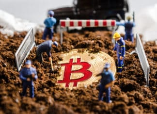 miniature miner workers team digging gold bitcoin with policeman officers stand watch over. digital virtual cryptocurrency money blockchain concept. Source: shutterstock.com