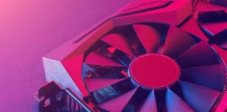 Video graphics card. Abstract bright pink blue light. Gpu background. Source: shutterstock.com