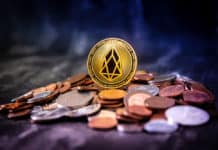 Golden EOS.IO and mound of money. Digital cryptocurrency concept.