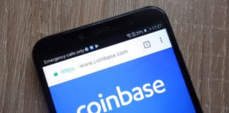KONSKIE, POLAND - JULY 17, 2018: Coinbase fintech company website displayed on a modern smartphone. Source: shutterstock.com