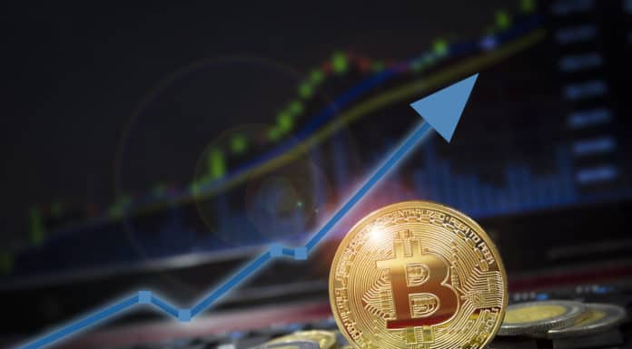 Bitcoin currency rising arrow price record highs on keyboard computer with golden bitcoin and other currencies. Source: shutterstock.com