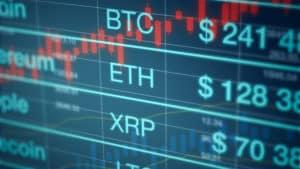 cryptocurrency exchange rate panel, (3d render). Source: shutterstock.com