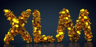 3D rendering: crypto currency Stellar Lumens made out of golden coins. Source: shutterstock.com