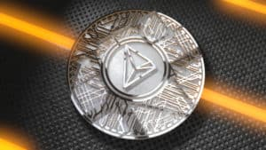 TRON Coin (TRX) Blockchain Cryptocurrency Altcoin 3D Render. TRON TRX is a blockchain based decentralized protocol that aims to construct a worldwide free content entertainment system.