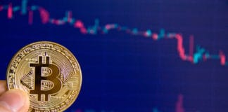 crypto currency, stock market index in the background. Source: shutterstock.com