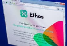 Ryazan, Russia - March 29, 2018 - Homepage of Ethos crypto currency on the display of PC, web address - ethos.io. Source: shutterstock.com