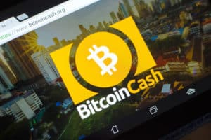 Ryazan, Russia - March 29, 2018 - Homepage of Bitcoin Cash cryptocurrency on display of tablet PC, bitcoincash.org. Source: shutterstock.com