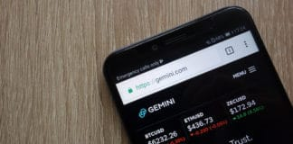 KONSKIE, POLAND - JULY 14, 2018: Gemini cryptocurrency exchange website displayed on a modern smartphone. Source: shutterstock.com