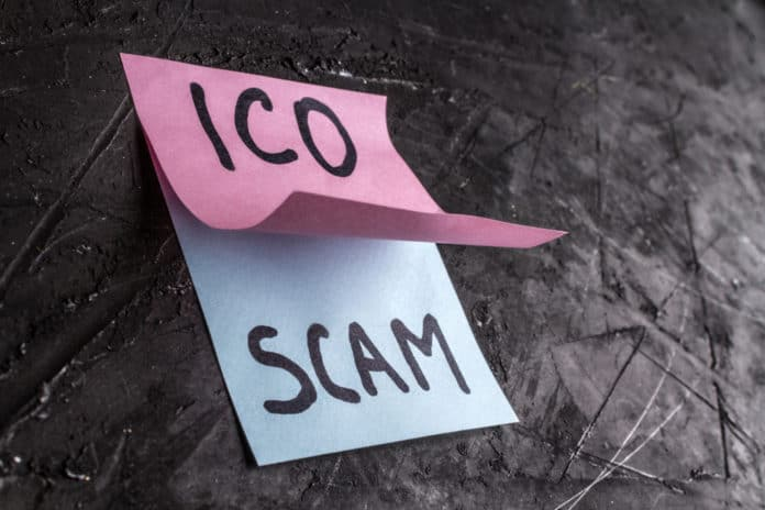 Scam in the crypto currency concept. Fraud at startup ICO. Source: shutterstock.com