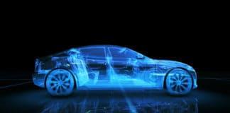 Sport car wire model with blue neon ob black background. 3d render. Source: shutterstock.com