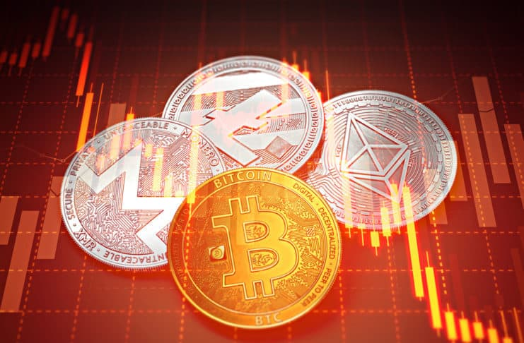 Cryptocurrencies success graphs with charts declining. Cryptocurrencies decline concept. 3D rendering. Source: shutterstock.com
