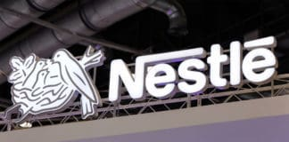 BEIJING, CHINA-JULY 16, 2017: Nestle sign; Nestle S.A. is a Swiss transnational company founded in 1866 and the largest food company in the world. Source: shutterstock.com