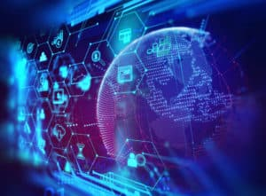 fintech icon on abstract financial technology background represent Blockchain and Fintech Investment Financial Internet Technology Concept. Source: shutterstock.com