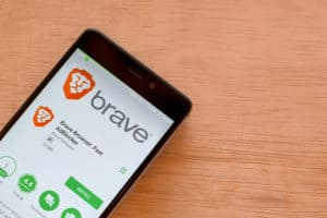 BEKASI, WEST JAVA, INDONESIA. FEBRUARY 24, 2018 Brave Browser Fast AdBlocker dev application on Smartphone screen. Brave Browser is a freeware web browser developed by Brave Software. Source: shutterstock.com