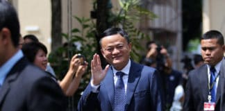 Bangkok, Thailand-April 19, 2018 Alibaba Group Chairman Jack Ma reacts during a visit to the country to announce the group's investment in the Thai government's Eastern Economic Corridor (EEC)