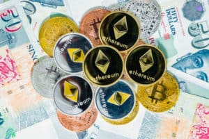 Bitcoin Cryptocurrency and Ethereum coins on top of Singapore Dollar banknotes, The Singapore dollar is the official currency of Singapore, Concept Virtual Currency over the current currency. Source: shutterstock.com