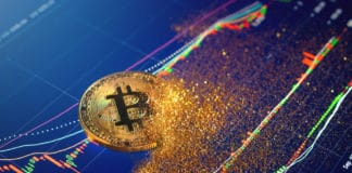 Bitcoin particles disintegration , bitcoin collapse concept. Source: shutterstock.com