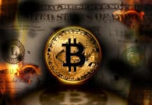 Bitcoin replacing dollar concept
