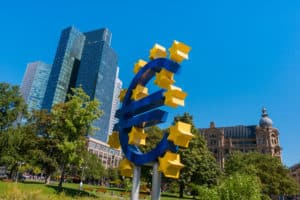 EURO sign at the financial district in Frankfurt, germany. Source: shutterstock.com