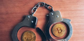 Handcuffs and bitcoins, conceptual image for cryptocurrency related police arrest. Source: shutterstock.com