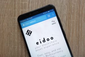 KONSKIE, POLAND - JULY 14, 2018 Eidoo (EDO) cryptocurrency website displayed on a modern smartphone. Source: shutterstock.com