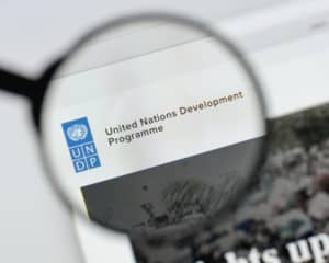 Milan, Italy - August 20, 2018 UNDP website homepage. UNDP logo visible. Source: shutterstock.com