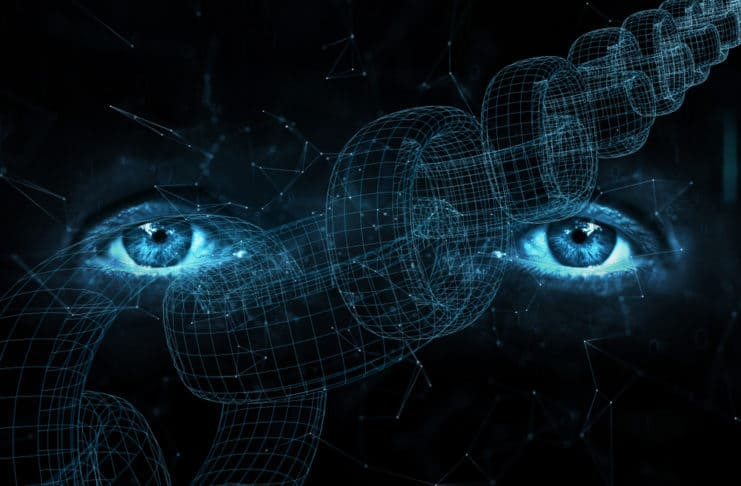 Close up of human eyes on digital computer blockchain chain background. Source: shutterstock.com